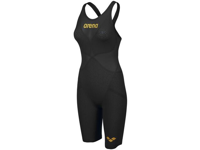 arena Powerskin Carbon Glide Full Body Badpak met Korte Pijpen & Open Rug Dames, black/gold